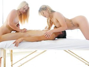 Double Massage With A Cock Riding Happy Ending