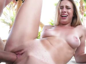 Bikini Blonde Sucks The Fat Cock And Spreads Her Legs
