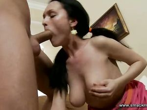Rough Mouth Fucking Of A Big Tits Teenage Slut