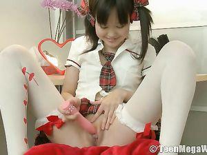Petite Asian Teen In Pigtails Dresses Like A Schoolgirl
