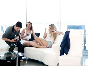 Erotic FFM Sex With Two Big Breasted Beauties