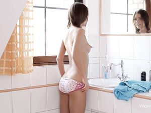 Fit And Skinny Body Teen Shaves It All Clean