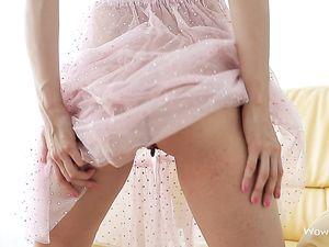 Solo Teen Brunette Teases Her Perky Titties