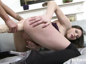 Giant Toy Up The Asshole Of A Hot Lesbian Chick