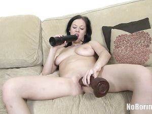 Lace Panty Cutie With Big Tits Fucks Her Big Toys