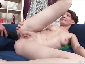 Aggressive Lesbians Fingering And Fucking Big Dildos