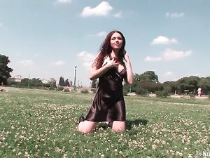 Satin Dress Beauty Playing And Flashing In The Park