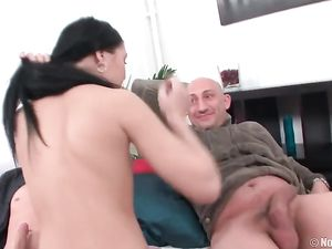 Guys Spit Roast A Sexy Teenage Girl With Perky Tits