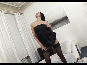 Stripping Stockings Girl Takes On Two Guys At Once