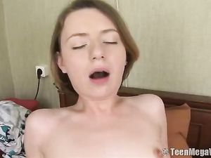 Tiny Tits Teen With A Tattooed Stomach Rides Dick