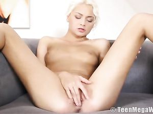 Young Lady With Her Legs Spread For Fingering Fun