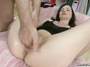 Toy Up Her Teen Ass While Dick Fucks Her Cunt