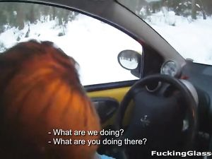 Snowy Day Blowjob In The Car From A Blonde Hottie