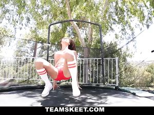 Sporty Slut On The Trampoline Wants To Fuck Him