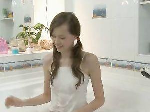 Tiny Teen In The Bubble Bath Masturbates Erotically