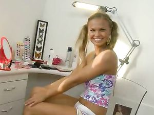 Pleasure Beads And A Dildo In The Cute Teen Blonde