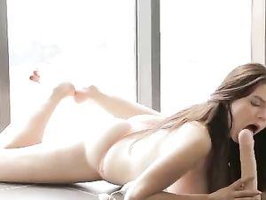 Big Natural Boobs Babe Sucks On A Huge Dildo
