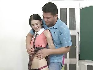 Schoolgirl Strips So His Dick Can Enjoy Her Pussy