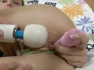 Vibrator On Her Clit And A Dick Up Her Teen Asshole
