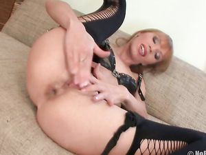 Hot Stockings And Heels On An Anal Toy Fucking Beauty