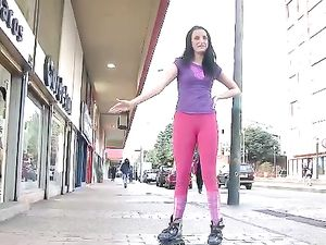 Skating Babe In Spandex Tights Loves To Fuck