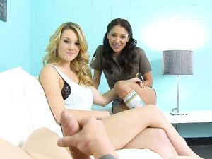 Blown In POV By Two Beautiful Young Sluts