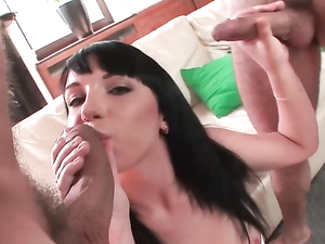 Sweet Slut On Her Knees Blowing Two Horny Guys