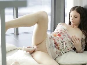 Dildo In Her Tight Cunt While Home Alone
