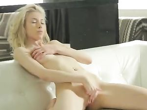 Sexy Stripping And Masturbating Young Blonde