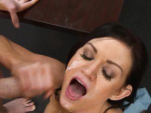 Facial For A Hot Brunette Schoolgirl After Sex